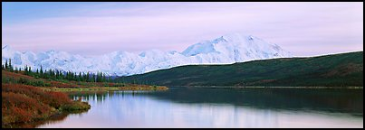Pastel landscape with Mount McKinley reflected in lake. Denali National Park (Panoramic color)