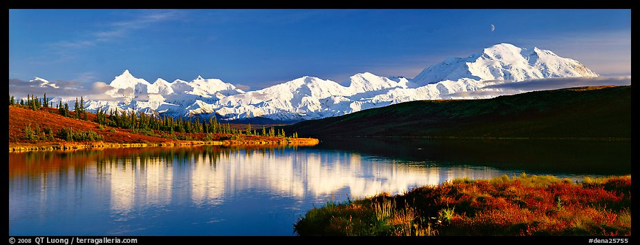 Tranquil autumn evening with Mount McKinley reflections. Denali National Park (color)