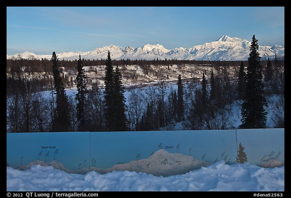 Interpretive sign, forest and Alaska range. Denali National Park (color)