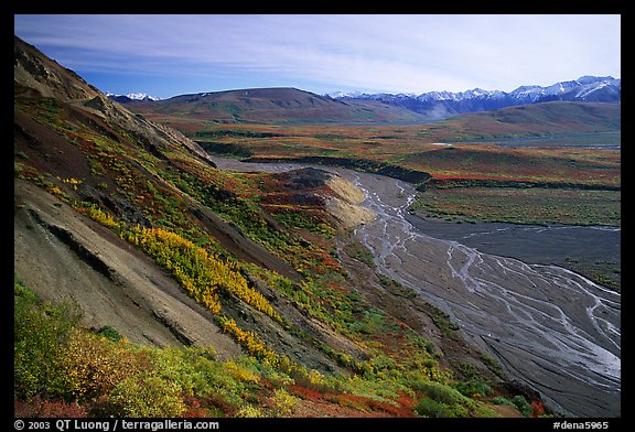 Braided river from Polychrome Pass, morning. Denali National Park (color)
