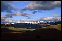 Alaska Range and clouds from Polychrome Pass, evening. Denali National Park, Alaska, USA.