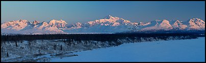 Alaska range, winter sunrise. Denali National Park (Panoramic color)