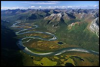 Aerial view of meandering Alatna river in mountain valley. Gates of the Arctic National Park, Alaska, USA. (color)