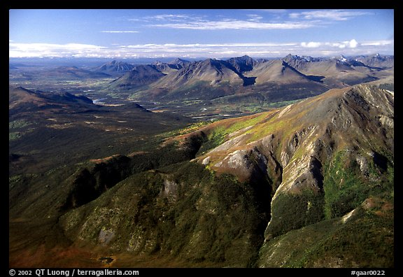 Aerial view of mountains with meandering Alatna river in the distance. Gates of the Arctic National Park (color)