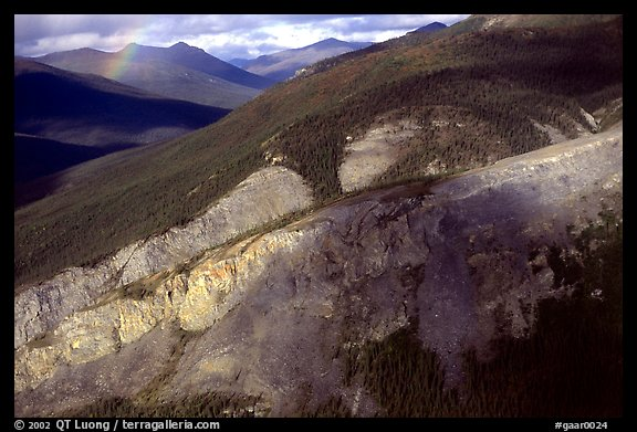 Aerial view of cliff and mountain side. Gates of the Arctic National Park (color)