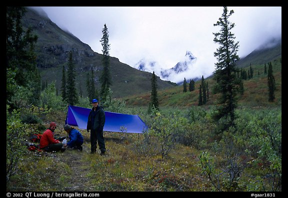 Backpackers camp in Arrigetch Valley. Gates of the Arctic National Park, Alaska (color)