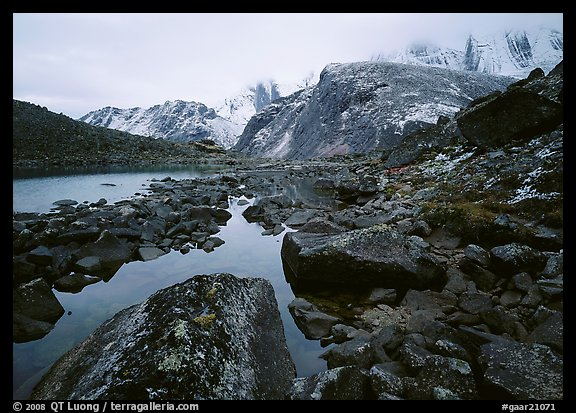 Arrigetch peaks above pond in Aquarius Valley. Gates of the Arctic National Park (color)