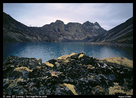 Dark rock and moss, Aquarius Lake. Gates of the Arctic National Park (color)
