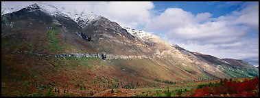 Brooks range peaks with fresh snow in autumn. Gates of the Arctic National Park (Panoramic color)