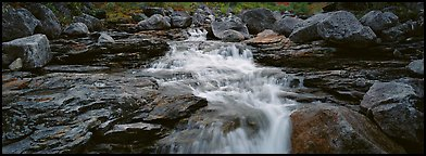 Stream, granite slabs, and boulders. Gates of the Arctic National Park (Panoramic color)