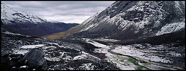 Brooks range stormy scenery with fresh snow. Gates of the Arctic National Park (Panoramic color)