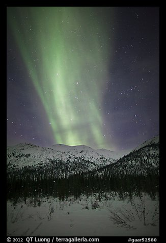 Northern lights over Brooks Range. Gates of the Arctic National Park (color)