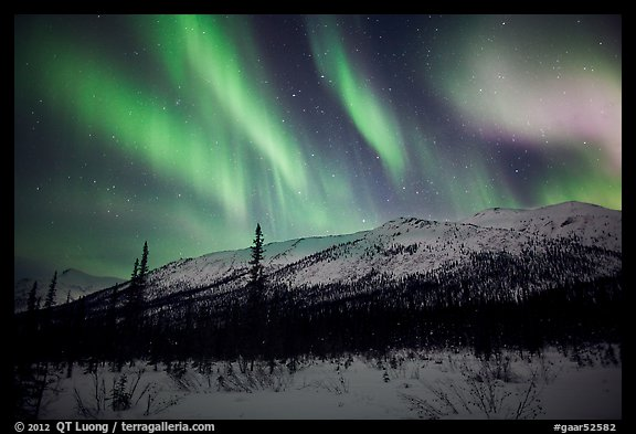 Colorful aurora curtains over Brooks Range. Gates of the Arctic National Park (color)