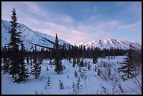 Brooks range, winter sunset. Gates of the Arctic National Park, Alaska, USA.