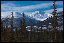 Boreal forest and snowy Brooks Range. Gates of the Arctic National Park, Alaska, USA.