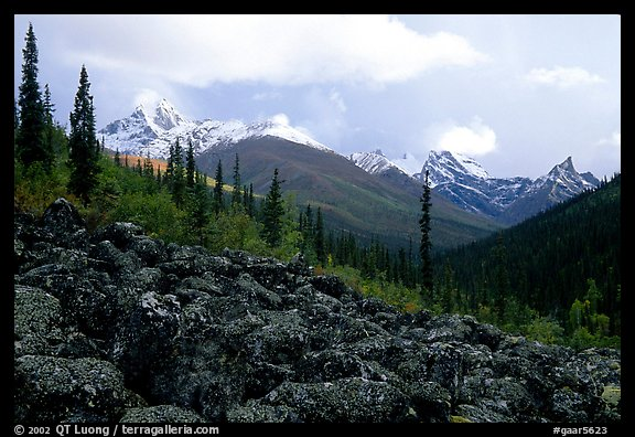 Arrigetch Peaks from boulder field in Arrigetch Creek. Gates of the Arctic National Park (color)