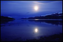Full moon, 1am, Muir inlet. Glacier Bay National Park, Alaska, USA. (color)