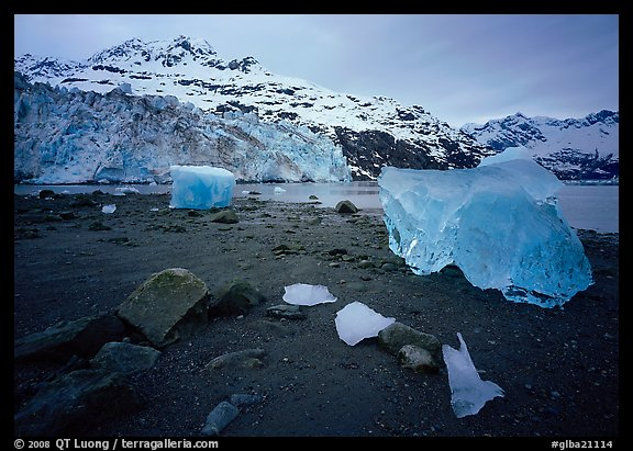 Beach, translucent iceberg, Lamplugh Glacier. Glacier Bay National Park (color)