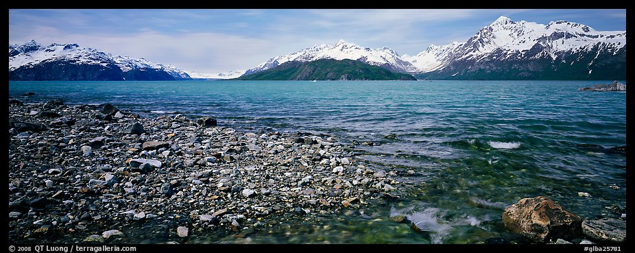 Snowy mountains rising above water. Glacier Bay National Park (color)