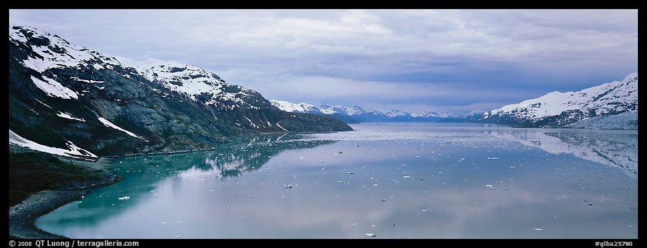 Marine scenery with snowy mountains and ice. Glacier Bay National Park (color)