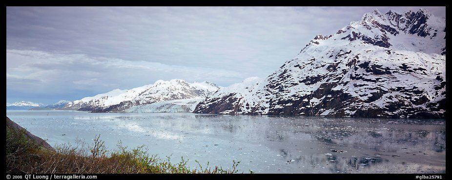 Snowy mountains rising above fjord. Glacier Bay National Park (color)