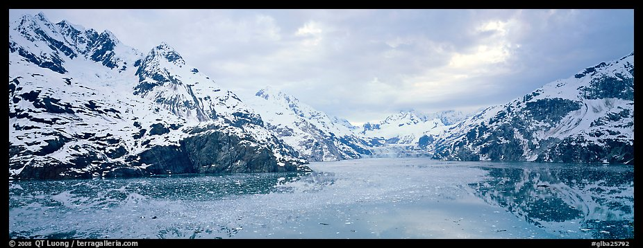 Fjord landscape with mountains and glaciers. Glacier Bay National Park (color)