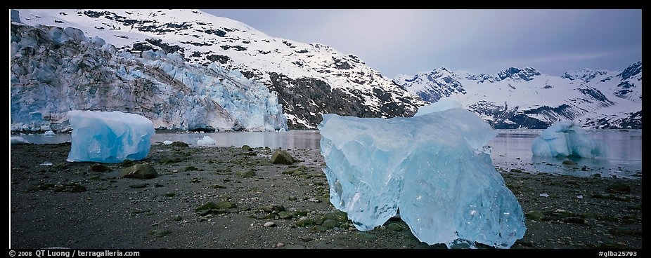 Beach iceberg and tidewater glacier front. Glacier Bay National Park (color)