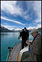 Movie producer taking notes as crew films. Glacier Bay National Park ( color)