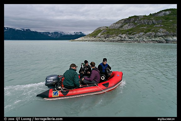 Film crew preparing for landing in a Zodiac. Glacier Bay National Park (color)