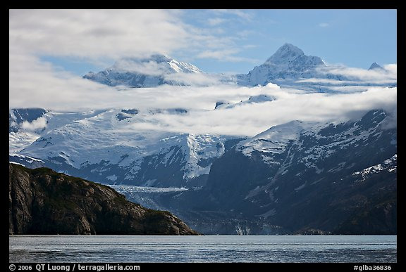 Rugged peaks of Fairweather range rising abruptly above the Bay. Glacier Bay National Park (color)