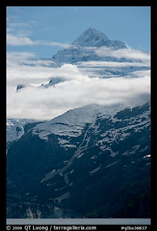 Pointed mountain with clouds hanging below. Glacier Bay National Park (color)
