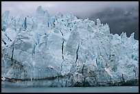 Blue ice on the tidewater terminus of Margerie Glacier. Glacier Bay National Park, Alaska, USA.