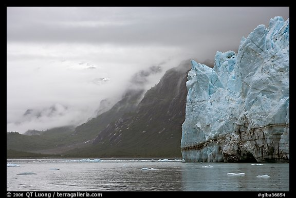 Margerie Glacier and foggy mountains surrounding Tarr Inlet. Glacier Bay National Park (color)
