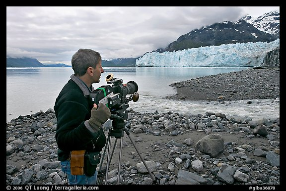 Cameraman filming in Tarr Inlet. Glacier Bay National Park (color)