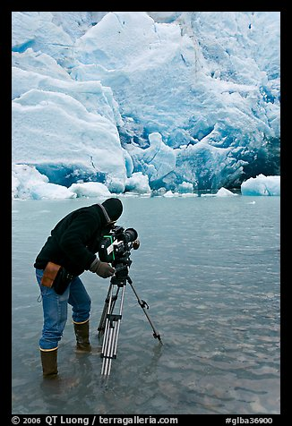 Cameraman standing in water with camera and tripod filming Reid Glacier. Glacier Bay National Park (color)