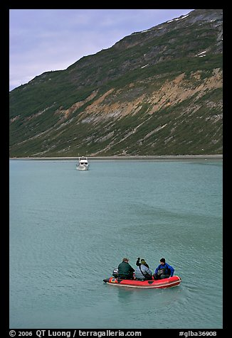 Skiff and tour boat in Reid Inlet. Glacier Bay National Park (color)