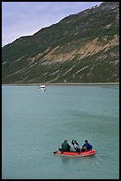 Skiff and tour boat in Reid Inlet. Glacier Bay National Park ( color)
