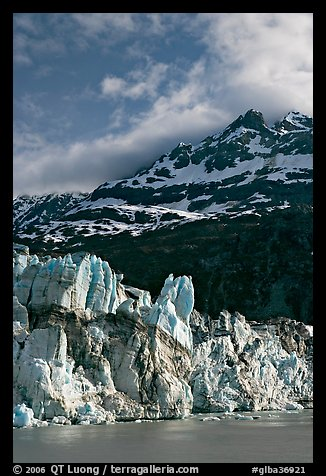 Seracs on the face of Lamplugh glacier and Mount Cooper. Glacier Bay National Park (color)