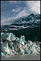 Seracs on the face of Lamplugh glacier and Mount Cooper. Glacier Bay National Park, Alaska, USA.