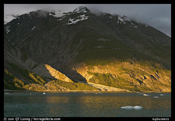 Sunset light falling on the base of the peaks around Tarr Inlet. Glacier Bay National Park (color)