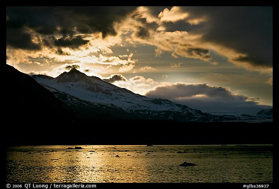 Mount Eliza and Tarr Inlet under clouds at sunset. Glacier Bay National Park (color)