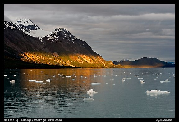 Tarr Inlet and icebergs with the last light of sunset. Glacier Bay National Park (color)