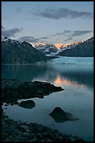 Mount Fairweather and Margerie Glacier seen across the Tarr Inlet. Glacier Bay National Park, Alaska, USA.