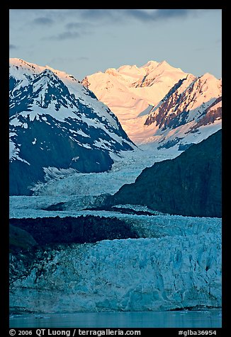 Margerie Glacier flowing from Mount Fairweather into the Tarr Inlet, sunrise. Glacier Bay National Park (color)