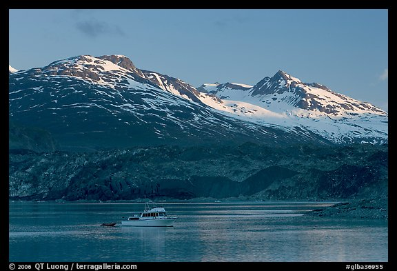 Small boat in Tarr Inlet, early morning. Glacier Bay National Park (color)