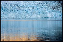 Golden reflections and blue ice of Margerie Glacier. Glacier Bay National Park, Alaska, USA. (color)