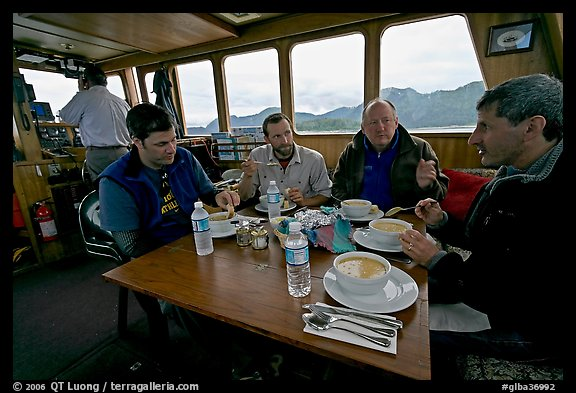Passengers eating a soup for lunch. Glacier Bay National Park (color)