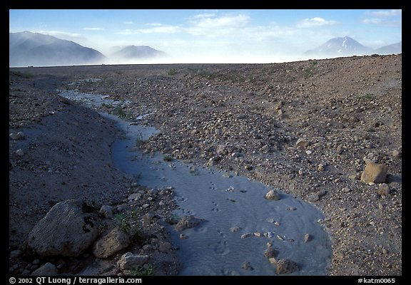 Animal tracks in ash, Valley of Ten Thousand smokes. Katmai National Park (color)