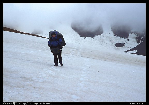 Hiking in a white-out, Valley of Ten Thousand smokes. Katmai National Park, Alaska (color)