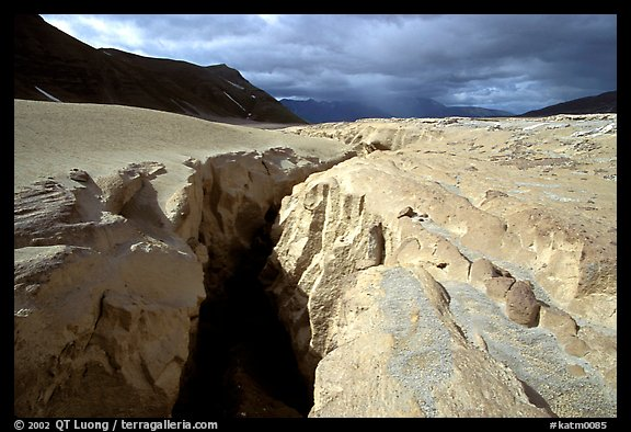 Deep gorge carved by the Lethe river in the ash-covered floor of the Valley of Ten Thousand smokes. Katmai National Park (color)